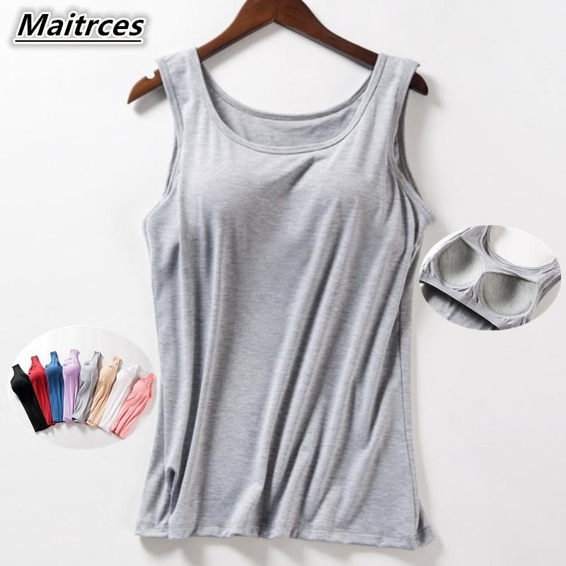 Kadın yaz yeni tank tops gömlek modal iç çamaşırı artı boyutu kadın t-shirt kaşkorse bluz bra 210310 inşa
