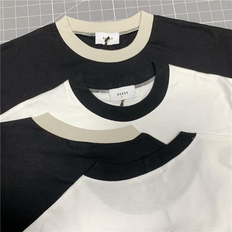 T-shirt rhude T-shirt Hommes Femmes Casual Patch Blanc T-shirt noir