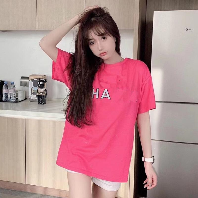 2021 Spring and Summer New Ins Fashion Brand Same Korean Round Neck Loose Cotton Printed Short Sleeve T-shirt for Women