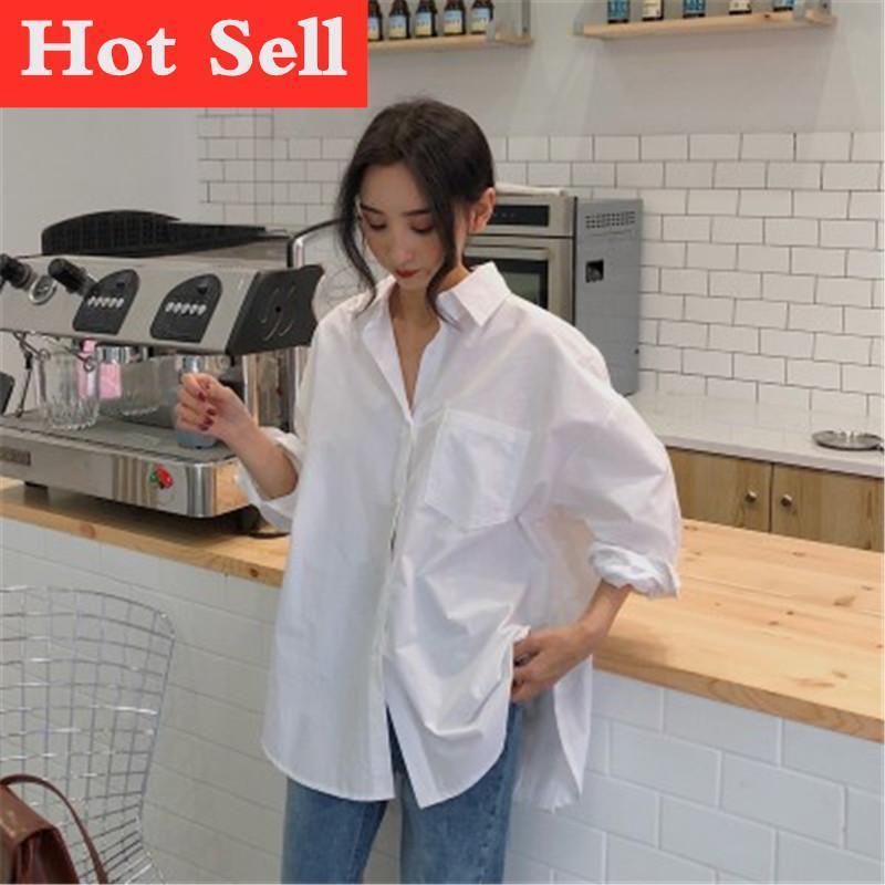 Camicette da donna Camicie 2021 Primavera Autunno Donne Bianco Pianura Bianco Singolo Oversized Top femminili BF Stile coreano Blusas Tasche