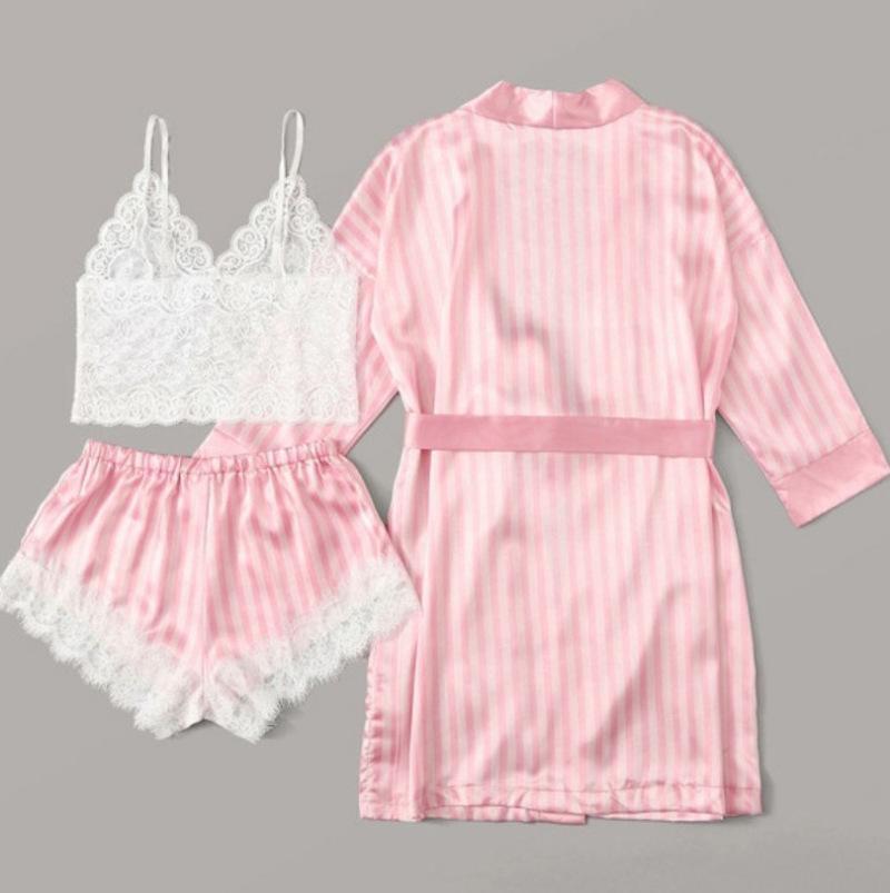 3 stücke Set Damenmode Mode Pyjamas Set Seide Spitze Dessous Bademäntel HomeWear Sleepwear Anzug Top + Hose + Robe 2020 Neue