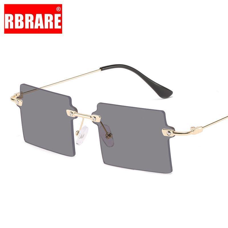 Sonnenbrille Rim Randlose Frauen Square Metallrahmen für Retro- Mode Straße Schießen Gläser Gafas de Sol Mujer