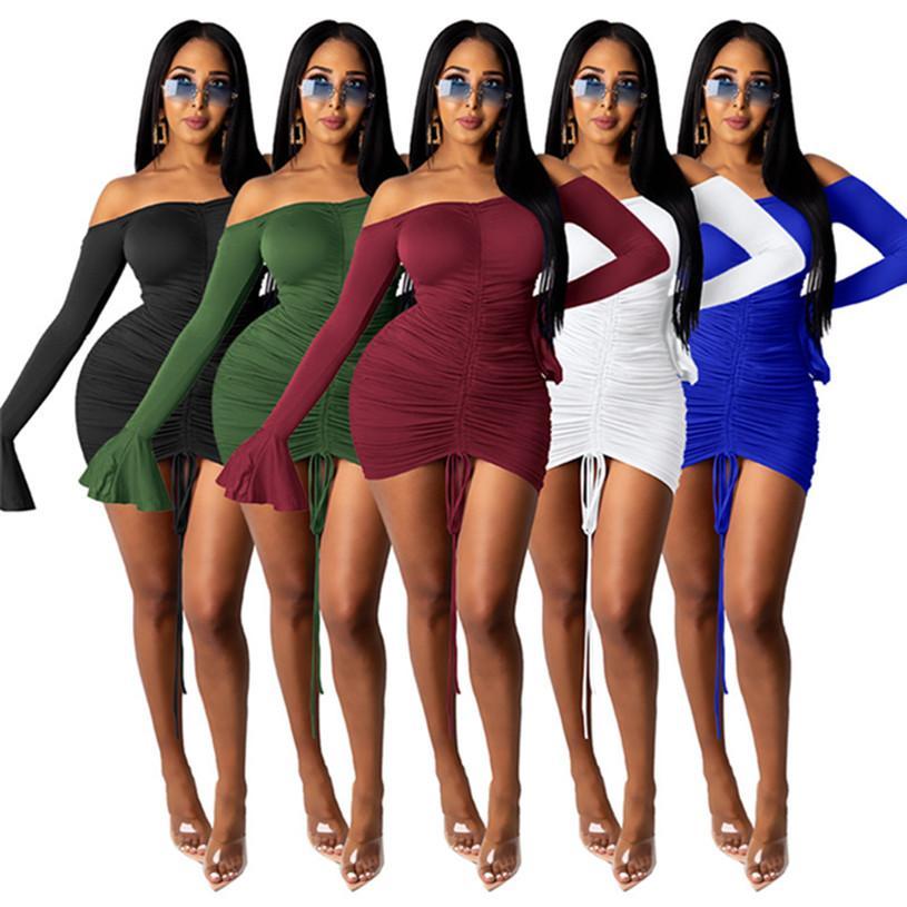 Femmes Bandage XL Summer Mini Sexy Robes à manches longues à l'épaule Dossier Skinny Robes Skinny Night Color Solid Vêtements 4445