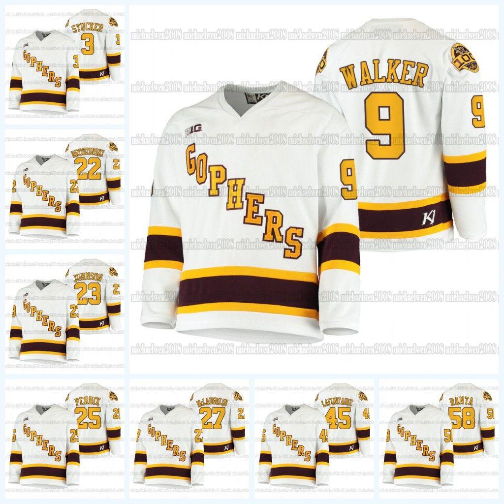 Sammy Walker NCAA Hockey Jersey Sammy Walker Minnesota Golden Gphers 2021100-й сезон Джерси Белый хоккей колледжа Sampo Ranta Mclaughlin