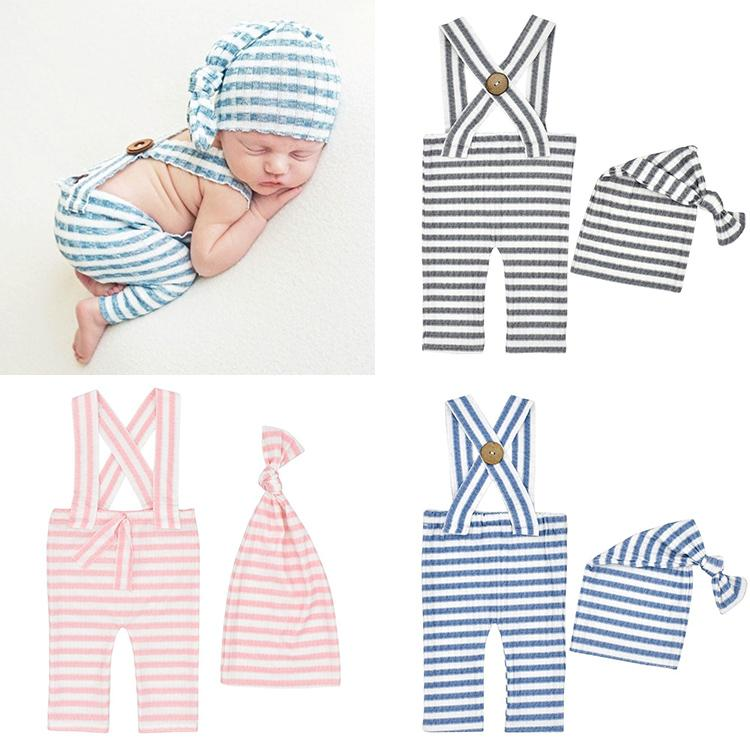 Newborn photo prop Overalls hat striped photography props set M3551