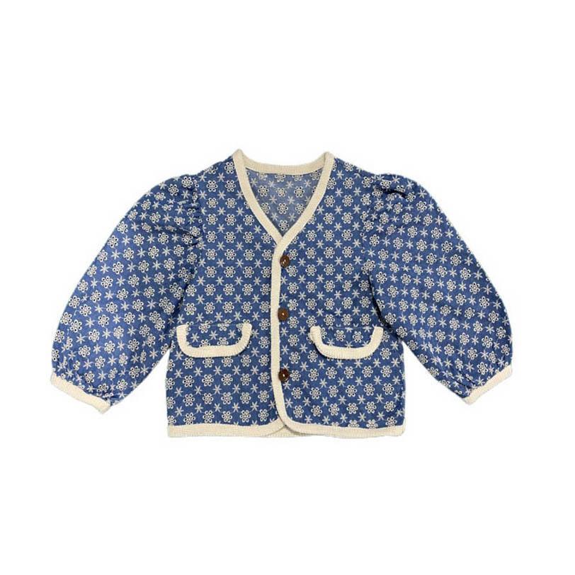 Chicas abrigos niños chaquetas primavera denim bordado niñas chaqueta de manga larga ropa exterior ropa de niños ropa de los niños 1-7Y B3879