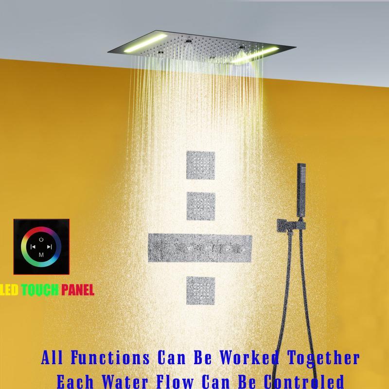 온도 조절 장치 세트 14 x 20 인치 직사각형 대형 스테인레스 스틸 욕실 샤워 헤드 원자화 비 LED 패널 크롬 황동 메시지 분무기 바디 제트