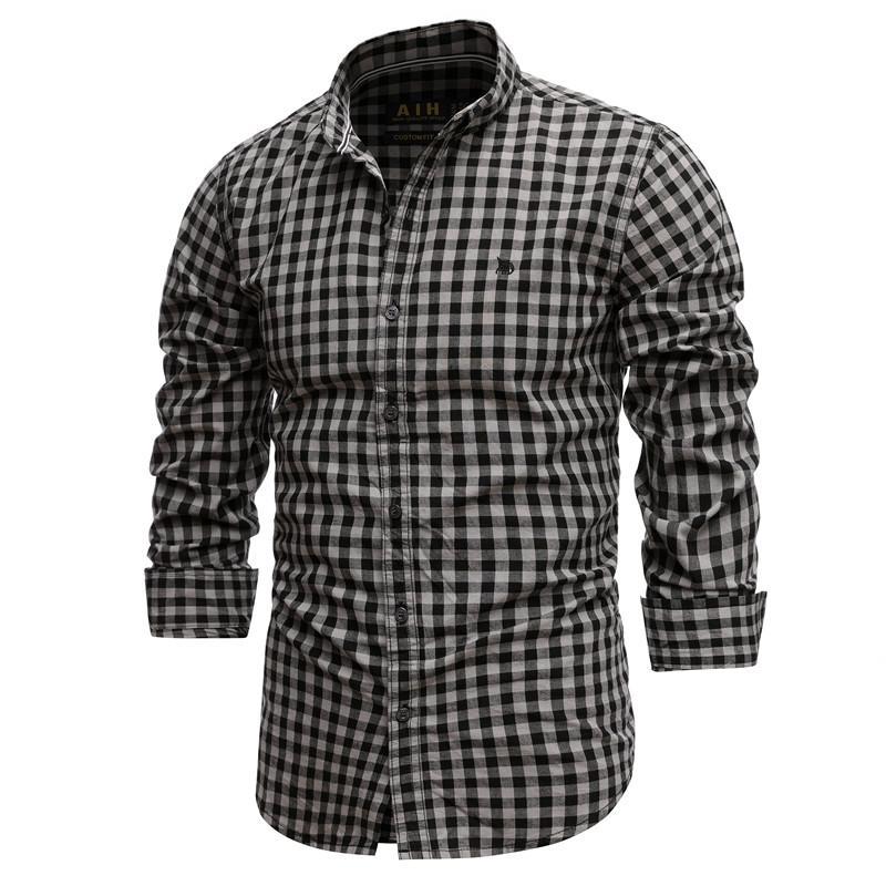 2021 Nouveau printemps 100% coton chemise à carreaux décontractés Slim Fit Hommes Chemise à manches longues Haute Qualité Hommes Social Shirt Chemises 210305