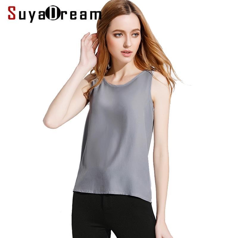 Suyadream 100% ipek krep kadın o boyun tankları kolsuz katı gömlek yaz gri siyah pembe şarap 210310