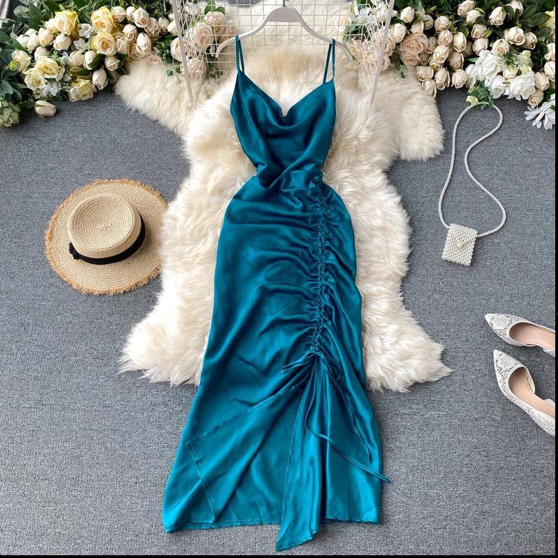 Frauen Solid Strap Kleid Koreanische V-Ausschnitt Asymmetrische Kordelzug Eine Linie Kleid Sommer Elegante Backless Party Maxi Kleid