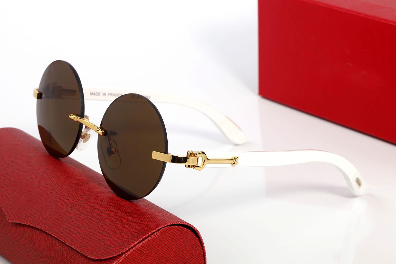 1 ADET Tasarımcı Marka Yeni Klasik Yuvarlak Güneş Gözlüğü Moda Kadın Güneş Gözlükleri UV400 Altın Ormanlık Çerçeve Kahverengi Siyah Açık Lensler Erkek Gözlük