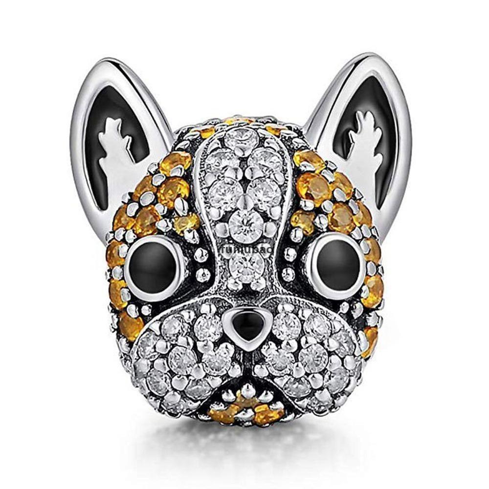 Hayvan Serisi Elmas Sevimli Köpek S925 Ayar Gümüş Charms Boncuk Fransız Bulldog Beagle Bilezik DIY Aksesuarları Toptan