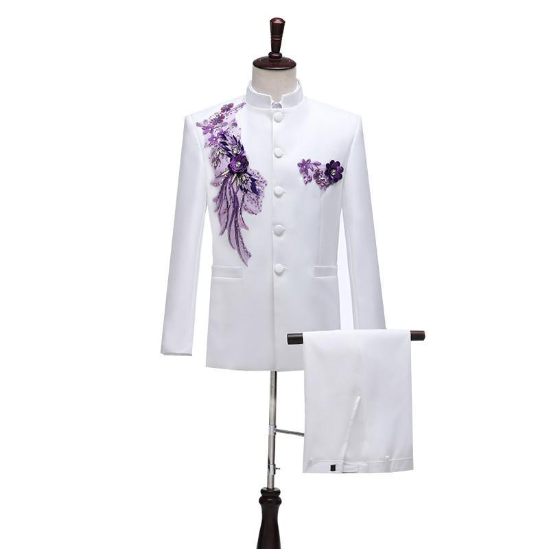 Men's Suits & Blazers Men Clothes Costumes Tunic Chorus Costume Dance Band Performance Middle-aged Chinese Style Collar
