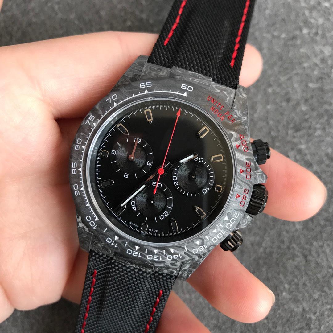 N 2021 40mm Reloj de hombre con mate negro con textura con textura con textura de carbono 7750 Movimiento mecánico automático A prueba de agua Cronal de cristal de zafiro Orologio di Lusso 00