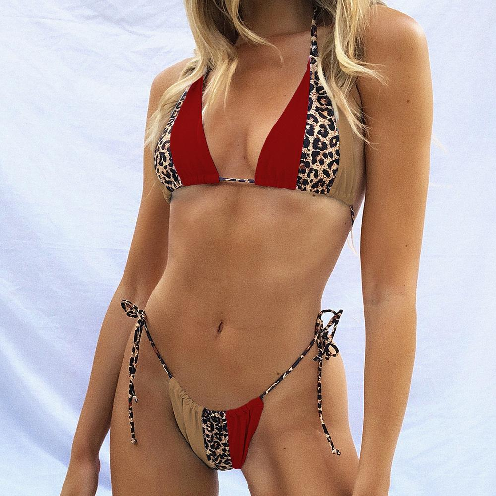 Leoprd Ptchwork Bikini Женщины Купальник 2021 Новый Сексуальный BNDGE BIKINI SET SOWWER Low Wist Bffwer Bechwer Купальник
