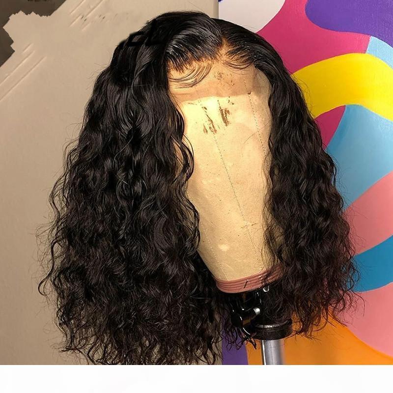 Brezilyalı Su Dalgası Kısa Bob 4x4 Kapanış Peruk İnsan Saç Dantel Frontal Dalgalı Kıvırcık Bob Peruk Kadınlar için Preked Dantel Peruk