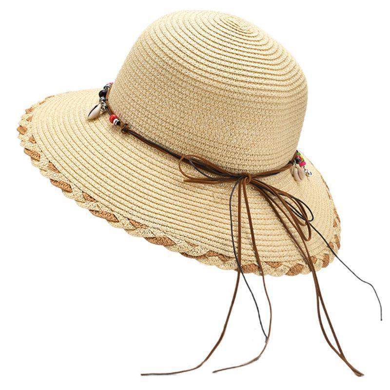 Mulheres tecidas chapéu de palha chapéu boho frisado shell borlas bowknot largo breim beach tampão 28gd j0226