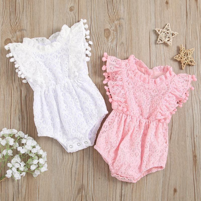 Jumpsuits 0-18m Baby Sommer Kleidung geborene Säuglingsmädchen Baumwolle Spitze Floral Romper Overall Sleeveless Quaste Outfit