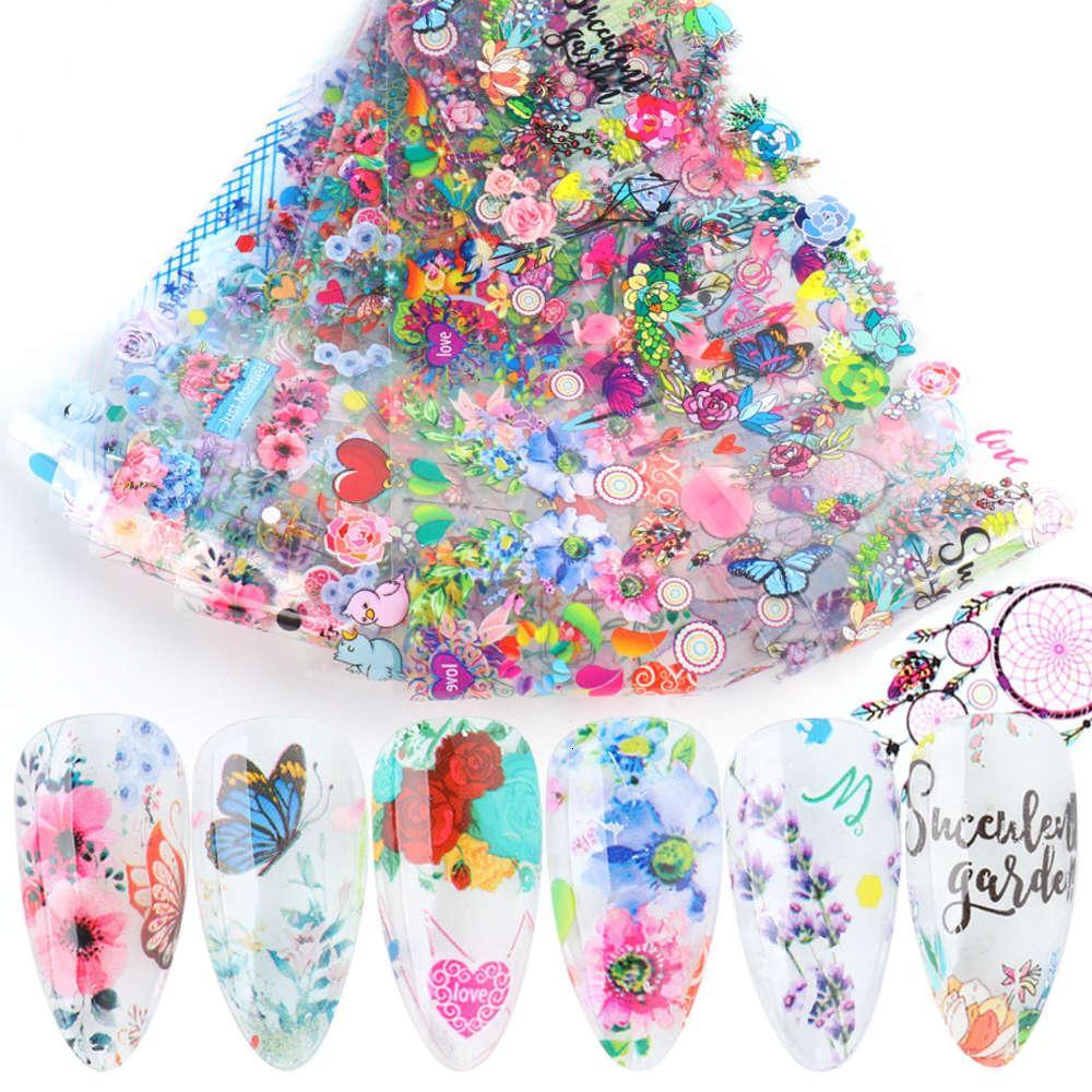 Neue Maniküre Aufkleber Ins Trend Getrocknete Blumen Valentinstag Dreamcatcher 10 Sterne Papier Transferaufkleber