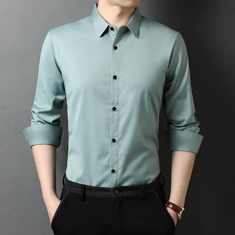 Outono nova cor sólida manga longa camisa dos homens umidade-absorvente e respirável camisa de seda de gelo para homens Batic Basic Shirt 210310