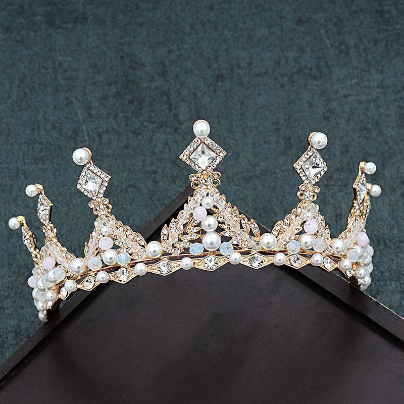Şampanya Altın Kraliçe Düğün Kral Tiara Taç Vintage Kristal Kadınlar Kız Saç Aksesuarları Için Gelin Bantlar Takı Saç