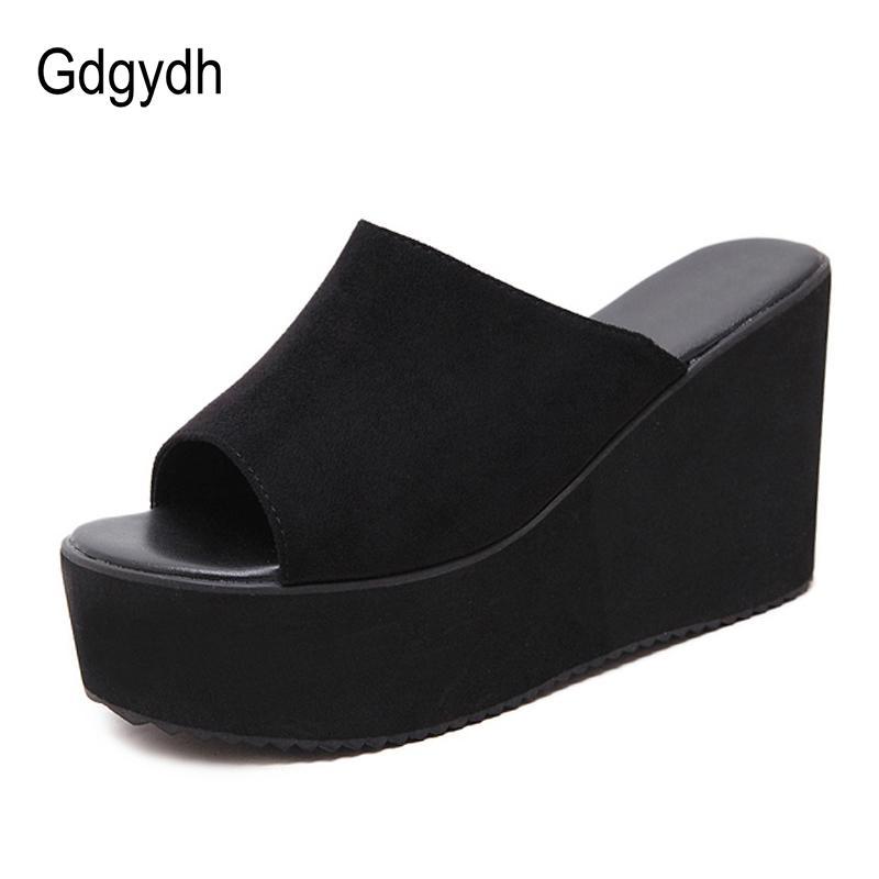 GDGYDH الصيف الانزلاق على النساء أسافين الصنادل منصة عالية الكعب الأزياء المفتوحة تو السيدات عارضة أحذية مريحة تعزيز بيع J2023
