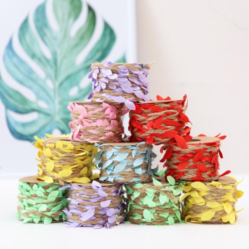 12 adet 5 M Yapay Renkli Yaprakları Halat Duvar Asılı Asılı Vine Yaprak Garland Bitkiler Dekorasyon DIY Ev Dekor için (6 Renk Karışık)