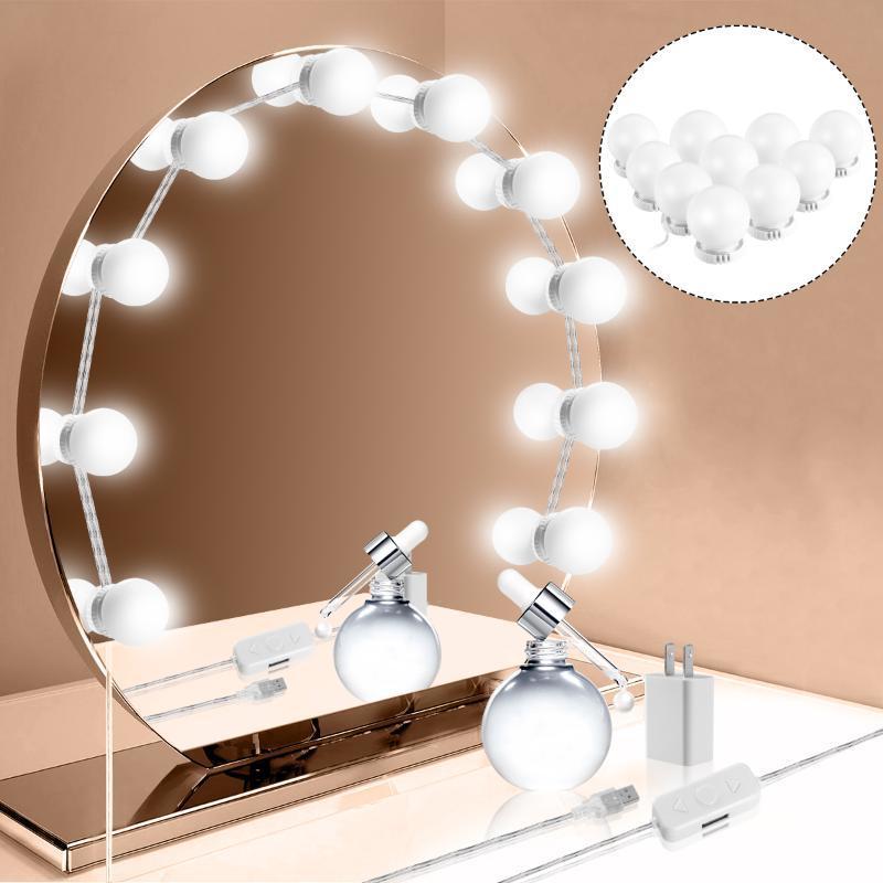 10 LEDs DIY Dimmable Vanity Mirror Lights Maquillaje Bombilla Hollywood Mirror Ajustable Brillante Lámpara de pared Lámpara de pared para tocador