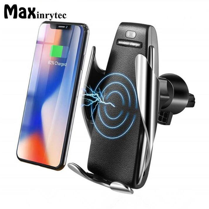 S5 Automatic Clamping 10W Qi Wireless Car Charger 360 Degree Rotation Vent Mount Phone Holder For iPhone Android Universal Phones