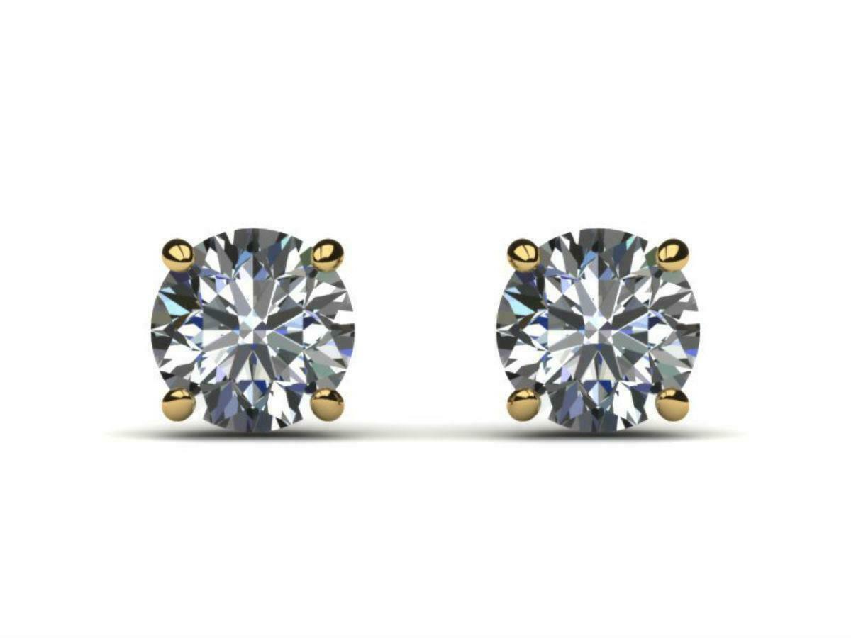 Aniversário Lad Diamond Stud Brincos Amazing 2.00 CT Rodada D VS1 14K Amarelo Banhado A Ouro