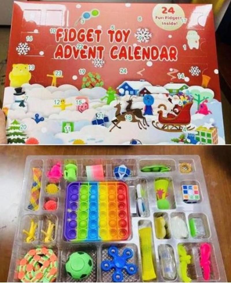 Fidget Advent Calendar Mystery Box 크리스마스 카운트 다운 블라인드 장난감 상자 아이들 어린이 선물 푸시 퍼즐 회 전자 열쇠 고리 대리석 메쉬 스 퀴시