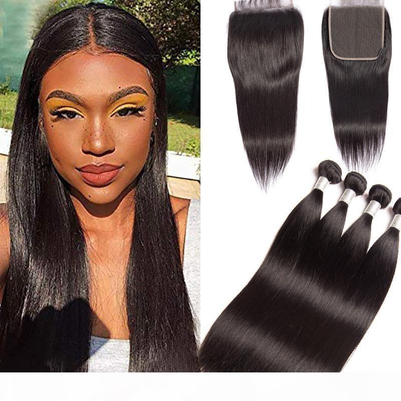 Paquetes rectos del cabello humano de Malasia con el cierre de encaje de 6x6 Cierre medio TRES FREE FREE 5 PIEZAS LOTE EXTENSIONES DE PANTALLO RECTO 8-28UL