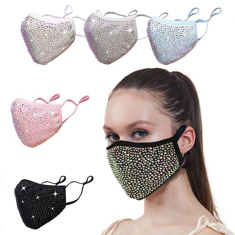 DHL Fashion Dustproof Mask Bling Bling Diamond Protective Masks PM2.5 Mouth Washable Reusable Women Colorful Rhinestones Face Mask FWF5008