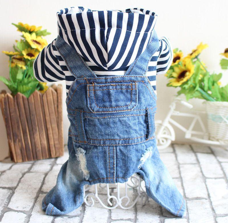 Clothes Pet Spring and Summer Teddy Bear Dog Four Legged Denim One Piece