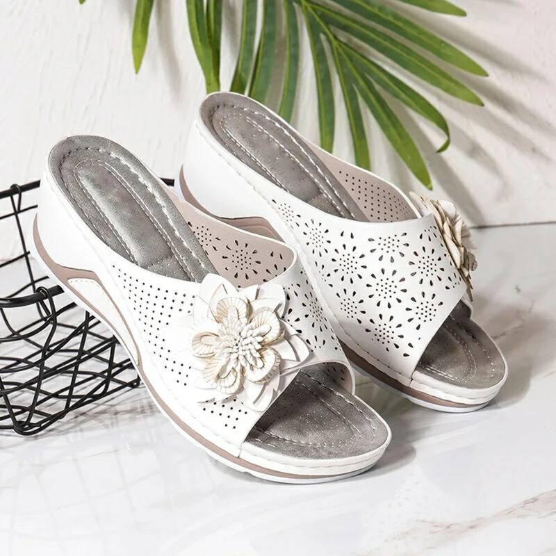 Hausschuhe Frauen Sommer Damen Mode Beiläufige Schuh Offene Zehe Flache Hohl Blume Wedge Heel Strand Sandalen plus Größe D9 #