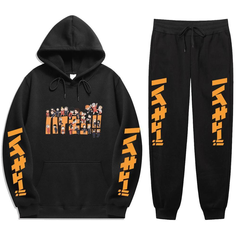 2021 Yeni Anime Haikyuu !! Nekoma Lisesi Kış Eşofman Parçası Baskı Hoodies Sportwear Erkekler Suit Hoodie Set ICE