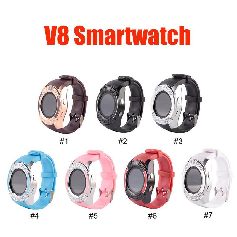 V8 Smart Watch Britband Bandband Band 0.3M Camera SIM IPS HD Полный круг Дисплей SmartWatch для системы Android с коробкой