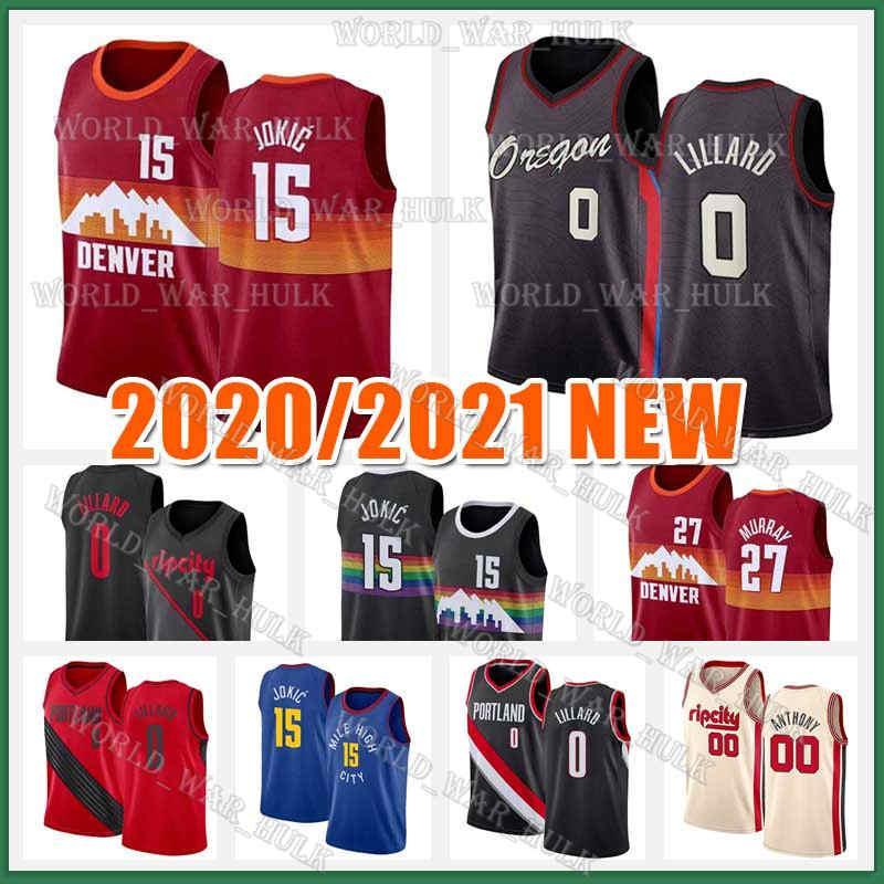 Damian 0 Lillard Jersey 15 Jokic Jersey Jamal 27 Murray Carmelo 00 Anthony Nikola City Mens Black Blue 2020 2021 Novas jerseys de basquete