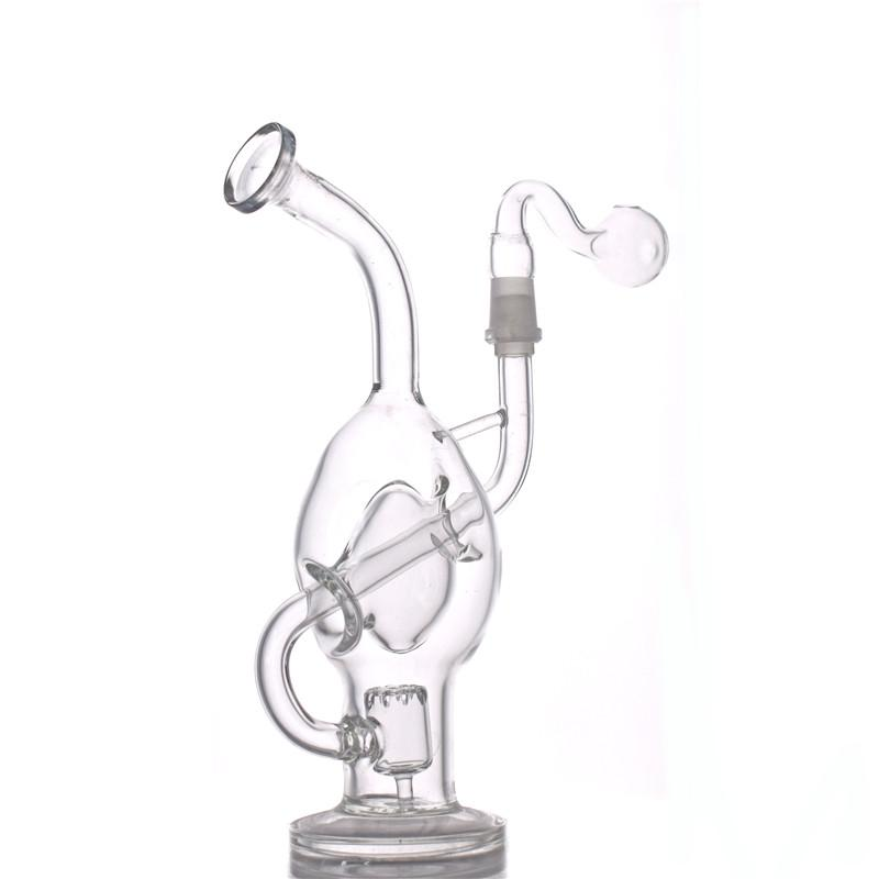 Recycler Glass Bong Dab Rig matrix Perc Bong Water pipe Smoking Pipes Hookah shisha with 1 bowl and 1 glass oil burner pipe