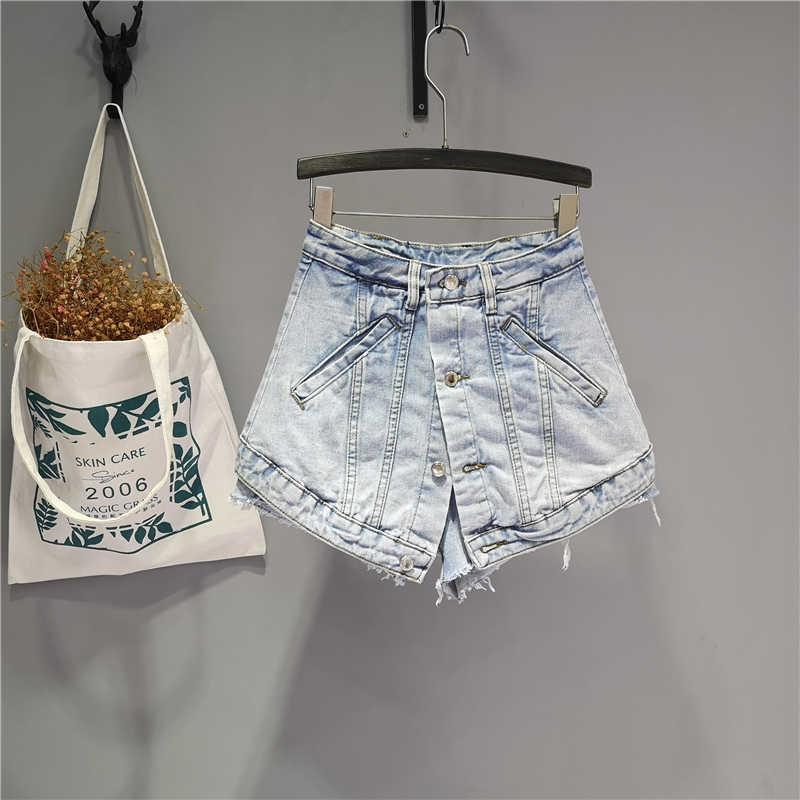 Ins Denim Shorts Cool Girls Street Style Bottom Wide Bein Hot Hose Vintage False Zwei Teil A Leine Kurze Jeans Frauen Sommer Y0602