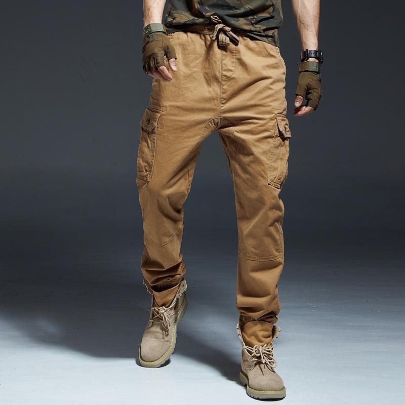 Nancy tino camuflagem macacão homens colhido calças calças casuais forças especiais forças táticas uniformes esportes pés engrossar