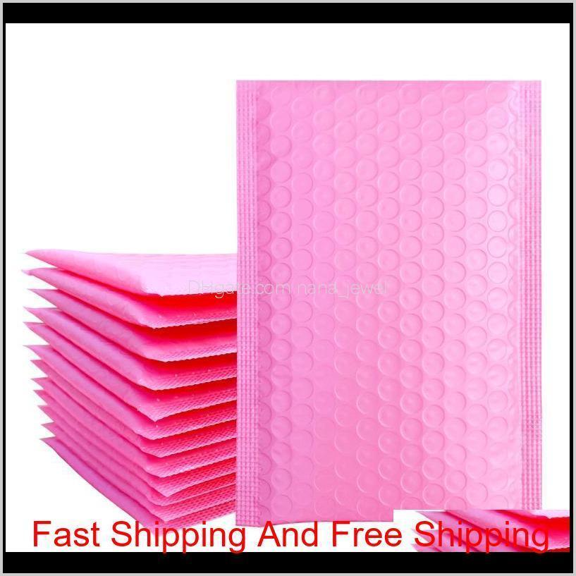 10 шт. / 5x7-дюймовый / 130 * 180 мм светло-розовый поли пузырьковый почтовый пузырька