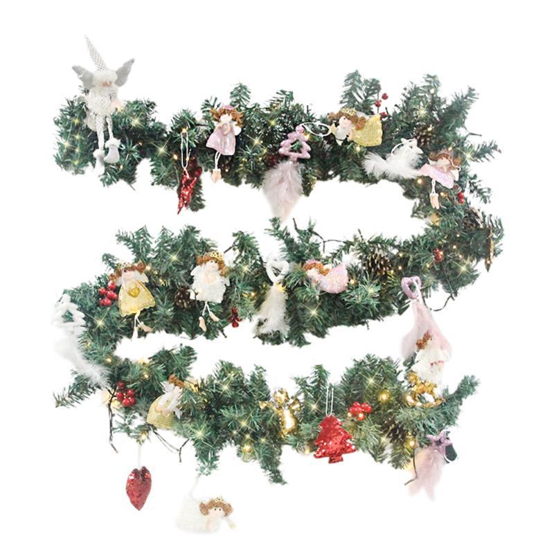 Fleurs décoratives Couronnes 2.7m Guirlande de Noël Lumineux Rattin Lights Strat Spray Accenture Ornements Décoration Fête Fête Fête Home Bricolage Artisanat