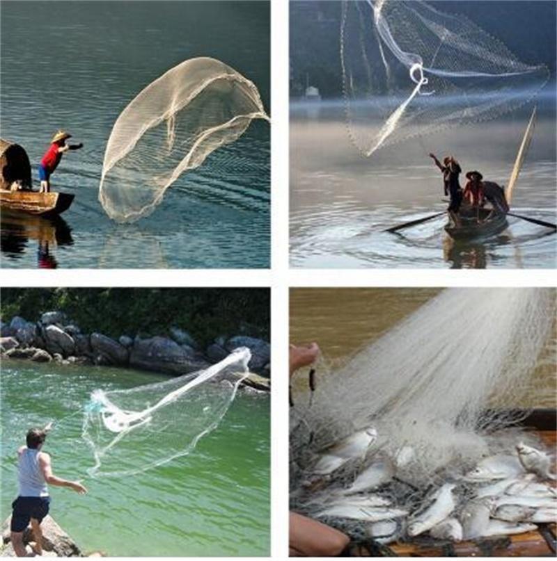 8ft 2.4m da pesca esca netta da pesca Easy Throw Hand Cast a mano 3/4 pollici Forte rete nylon + Pinker 143 W2