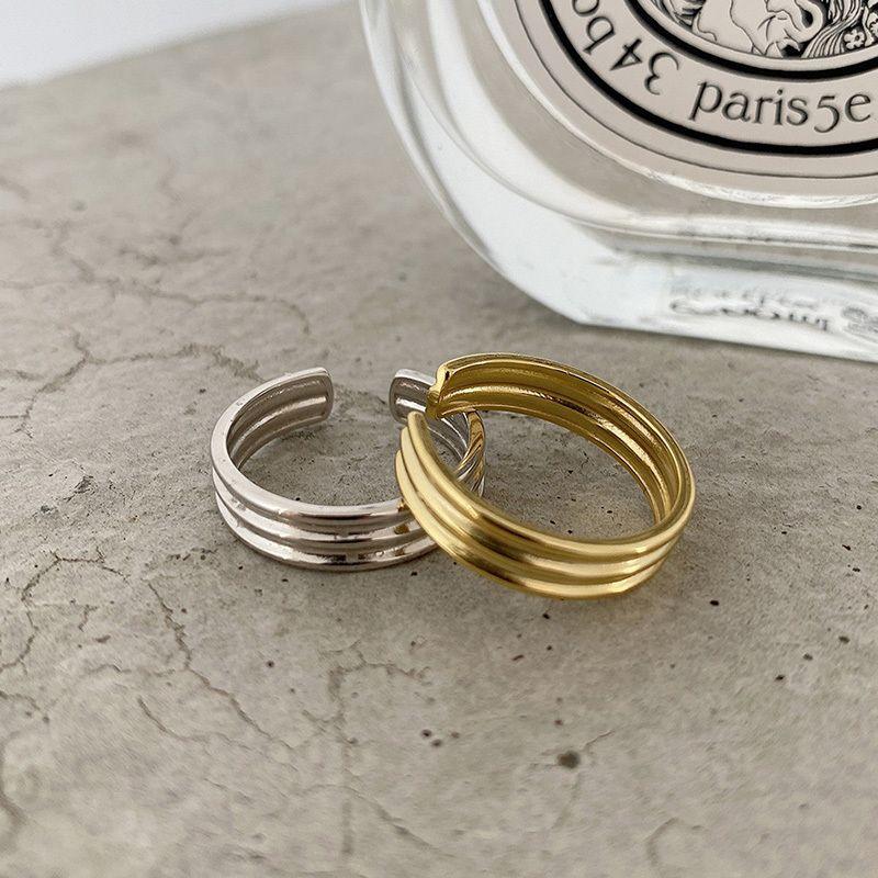 Horizontal Stripes Rings 925 Silver Punk Jewelry Charm Bohemia Minimalism Birthday Gift Haut Femme Rings for Women Anillos J1208