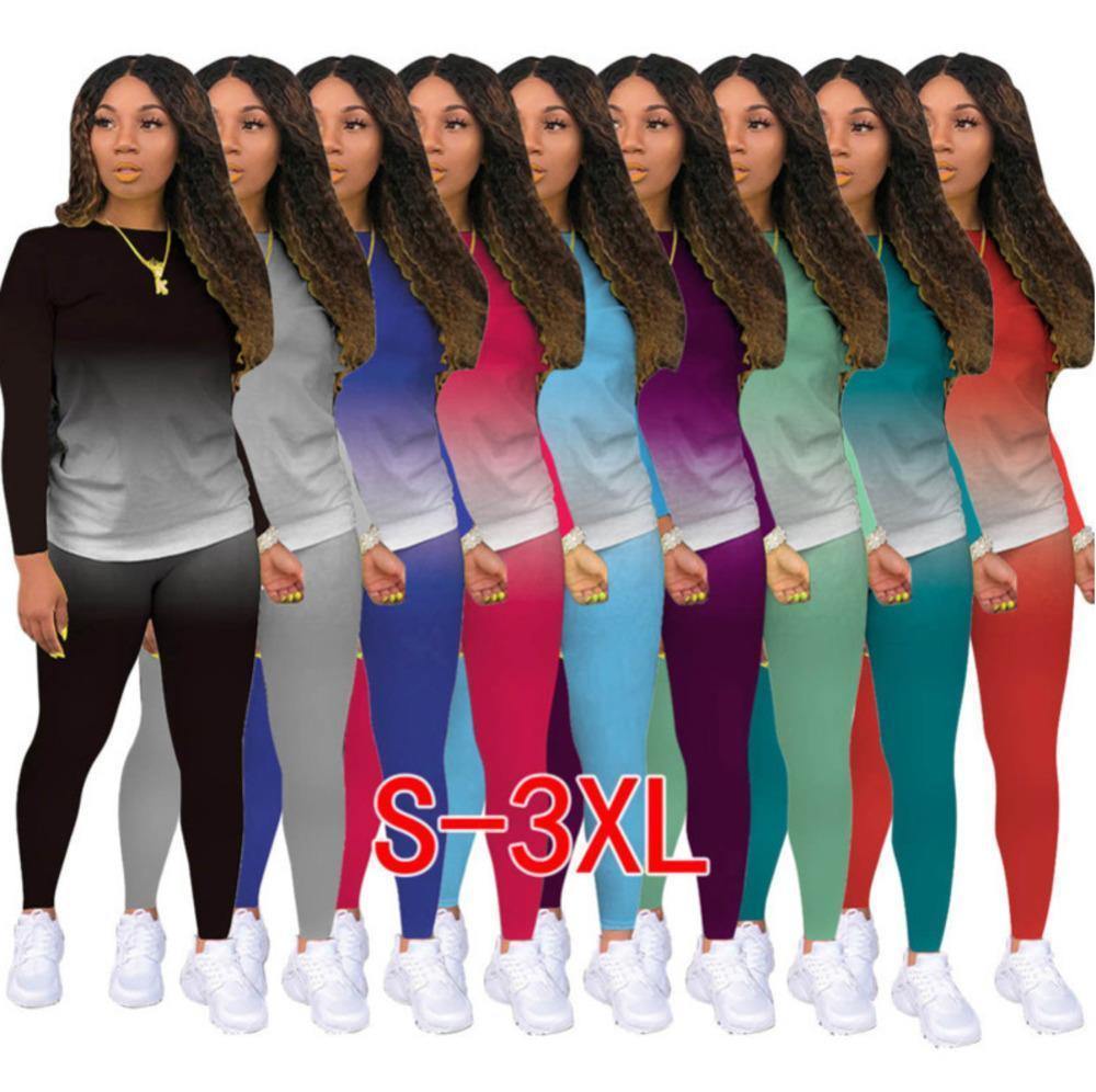 Women Tracksuit Designer Clothes 2021 Gradient Two Piece Outfits Jogging Suit Ladies New Fashion Casual Sportswear Dhl 9 Colors 823
