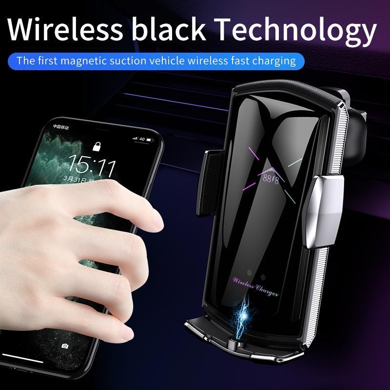 E6 Car Wireless Charger With 3 IN 1 Magnetic Suction Head Smart Sensor Car Phone Holder Air Vent Mount Car Bracket Phone Stand Fatory Sale