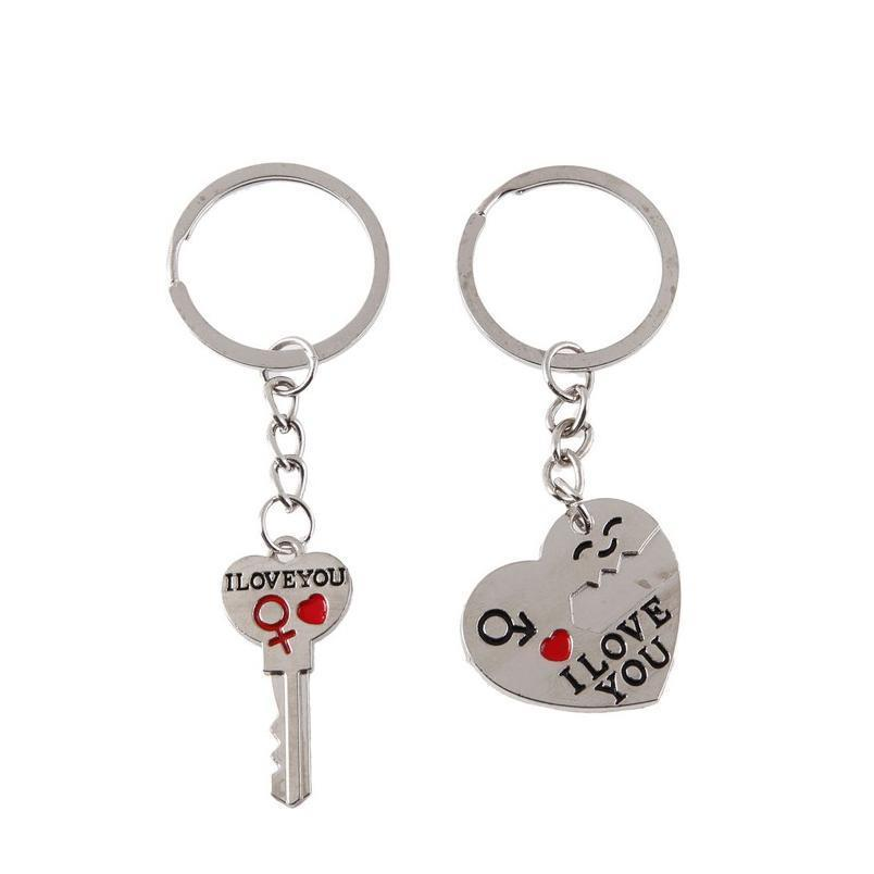 1 paire couple je t'aime letter keychain keart kein porte-clés d'argent amoureux amour-clé chaîne souvenirs Saint-Valentin joyau QYLIP