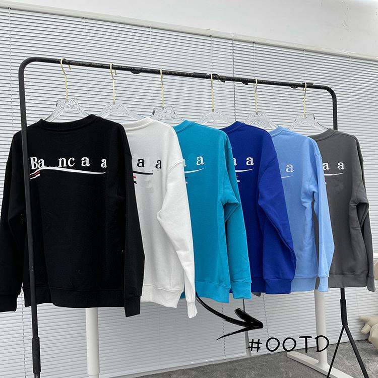 21FW Streamer Designer con capucha Carta Impresión Impresión Cuello redondo Suéter Pareja Flojo Camisa de manga larga para hombres y mujeres Sudaderas