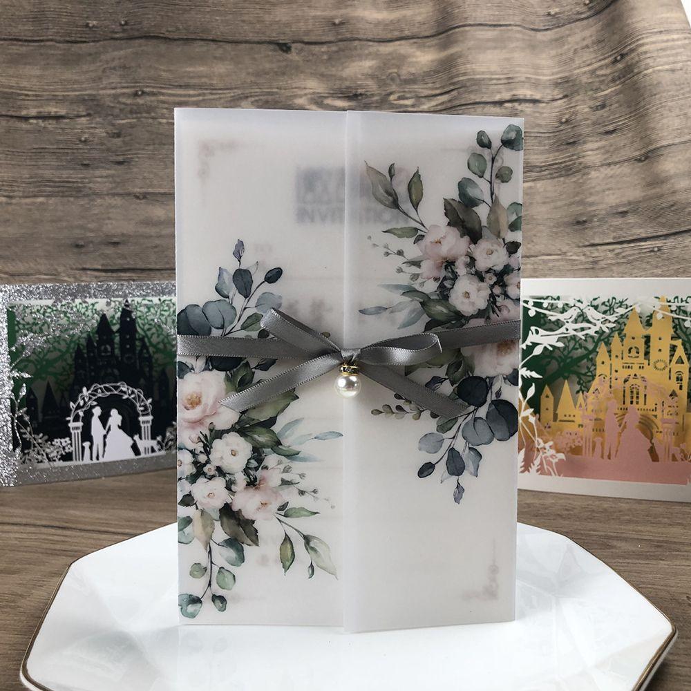 Nueva invitación impresa de la boda de la envoltura de vellum con Rhinestone y Ribbon DIY Tarjetas de felicitación personalizadas para el aniversario invitaciones de fiesta